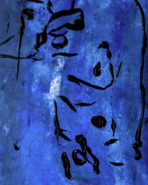 Blue painting with black squiggly lines spread throughout artwork