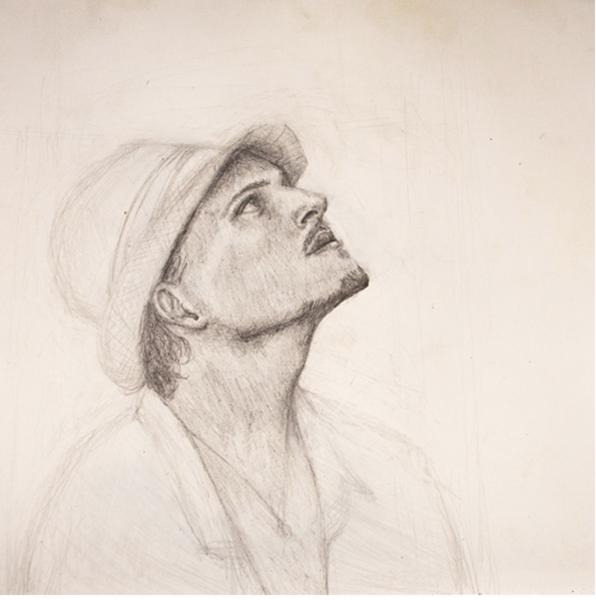 Pencil drawing of gentleman wearing hat looking up