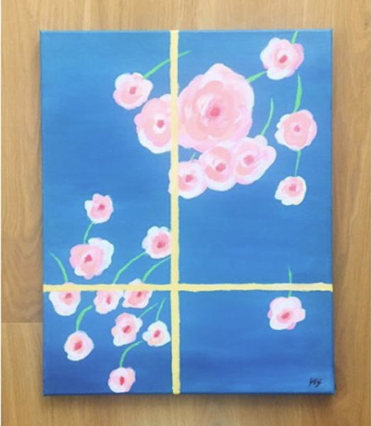 Bright blue background with cherry blossoms painted on it  made to look as if being seen through window panes