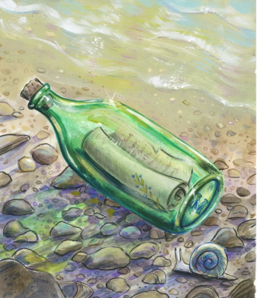 Green bottle containing rolled up letter on rocky beach with shallow waves in  upper corner of painting