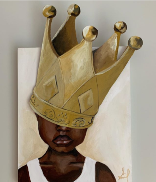Young boy in white tank top with large crown covering his eyes