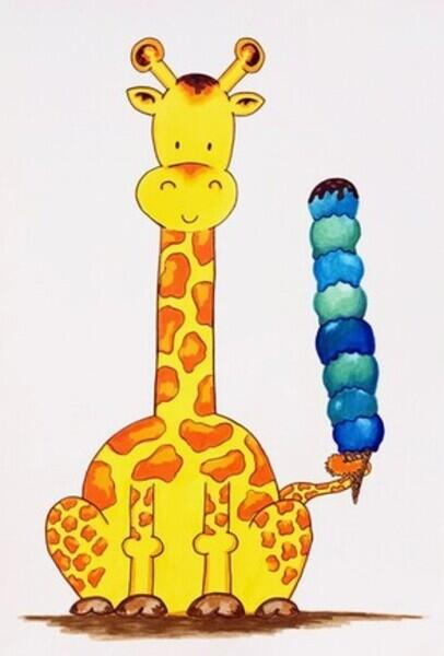 Smiling giraffe sitting on haunches holding blue ice cream on cone with their tail