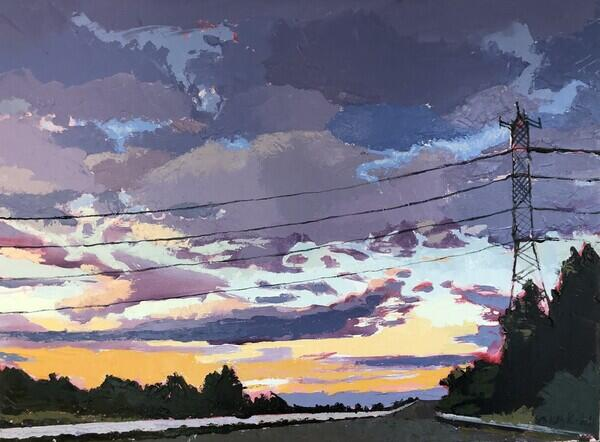 Purple and yellow clouds in sky over country road with telephone wires and tower across image