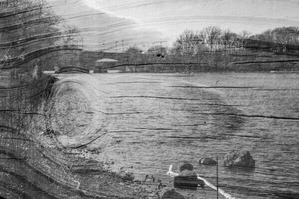 Photograph overlay plank of wood superimposed over view of lake Black and white