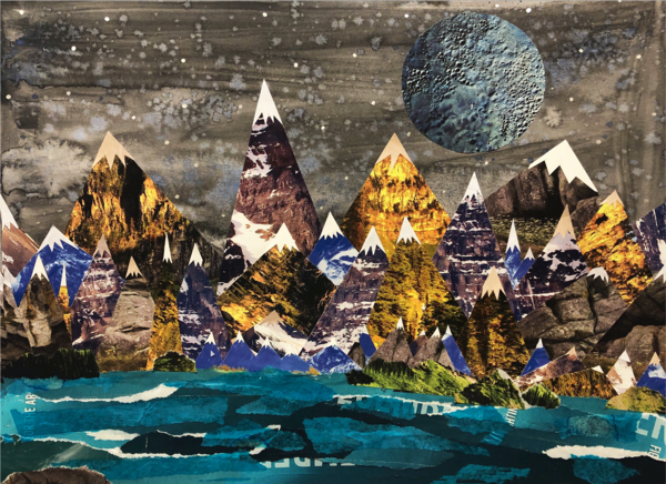 Mixed Media artwork Golden mountains with snow caps Grey sky with huge grey moon in upper right quadrant Blue water at foot of mountains with white caps