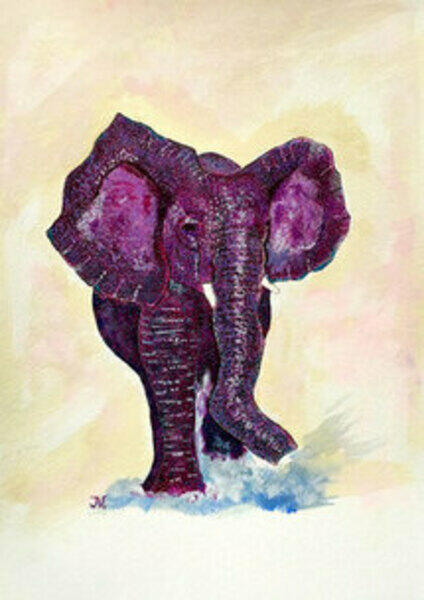painting of purple elephant