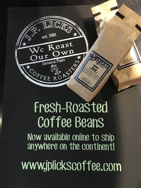 We Roast Our Own FreshRoasted Coffee Beans now available online to ship anywhere on the continent wwwjplickscoffeecom on black background with two bags of JP Licks coffee in brown paper bags