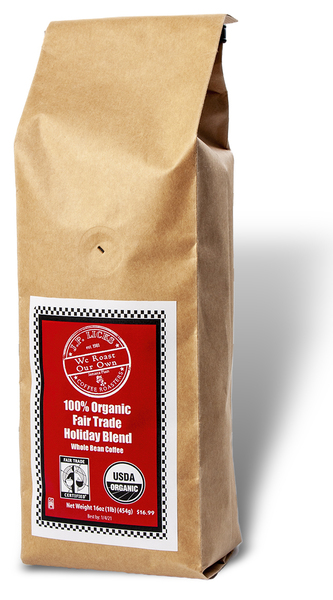 Brown paper coffee bag with red label Text JP Licks coffee logo nbsp100 Organic Fair Trade Holiday Blend Whole Bean Coffee