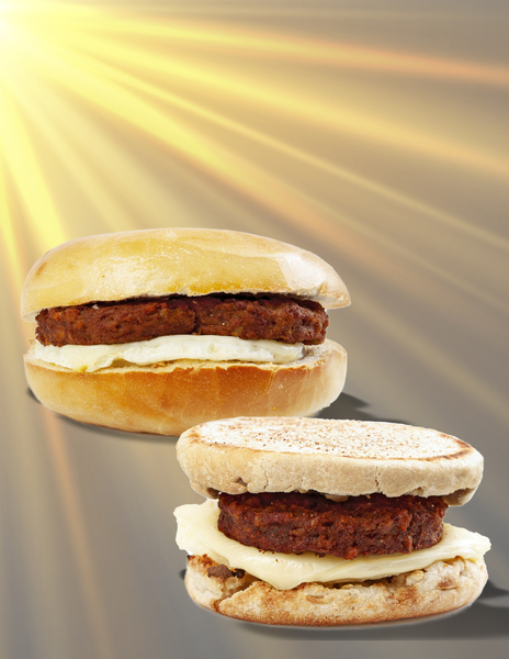 Upper left corner sunshine rays shining onto bagel and English Muffin with veggie sausage patty egg and cheese sandwiches