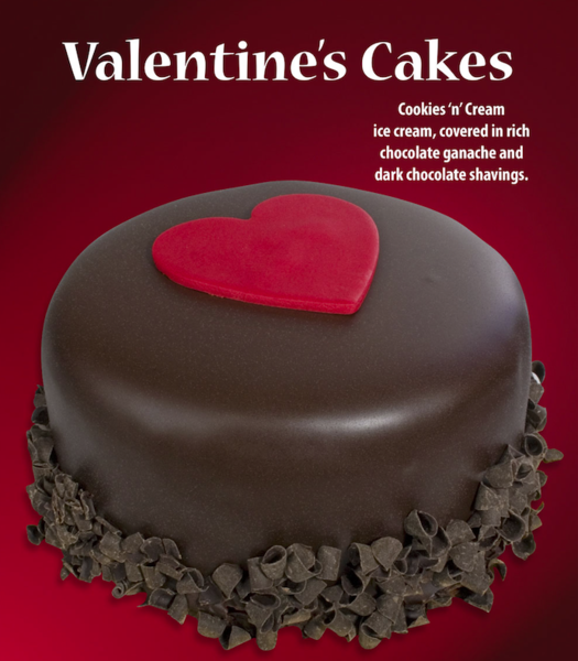 Valentine039s Cakes cookies 039n039 cream ice cream covered in rich chocolate ganache and dark chocolate shavings with photo of chocolate covered cake with red heart on center of top of cake and chocolate shavings along base