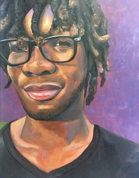 Young man with glasses and dreads in black shirt smiling at viewer from shoulders up on purple background