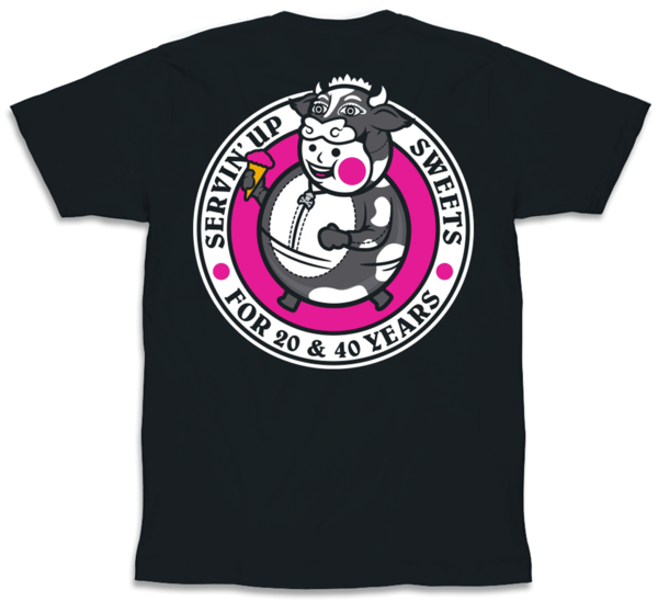 Black short sleeve tshirt with Johnny Cupcakes design across the back Pink white black circle around round boy wearing cow suit and carrying pink ice cream cone Text Servin039 up Sweets for 20 amp 40 years