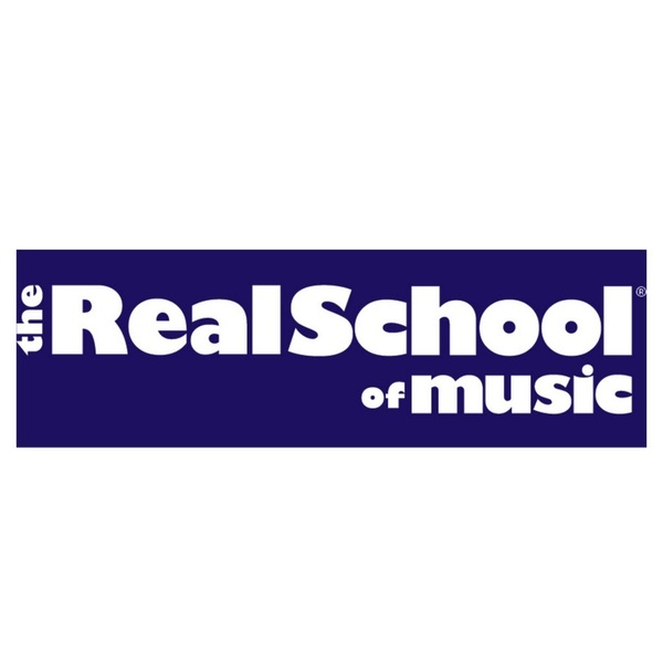 The Real School of Music in white on blue background
