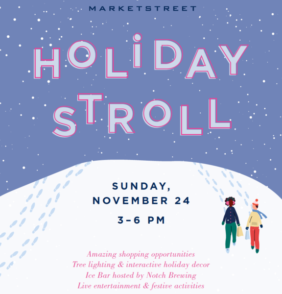 MarketStreet Holiday Stroll over blue snowy sky Sunday November 24 36 pm over snow banks Two people walking on snow bank