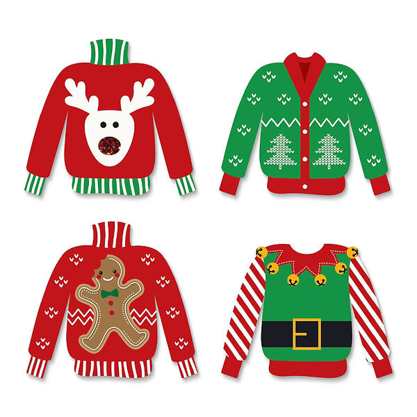 Four Christmas Sweaters reindeer tress gingerbread man elf sweater
