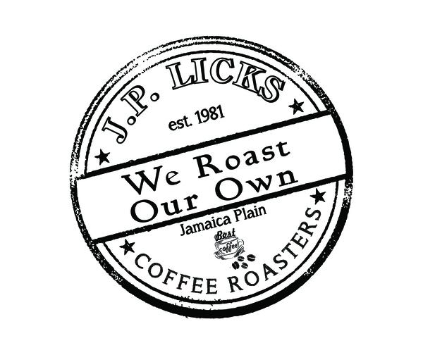 JP Licks coffee logo JP Licks est 1981 We Roast Our Own Jamaica Plain Coffee Roasters in circle